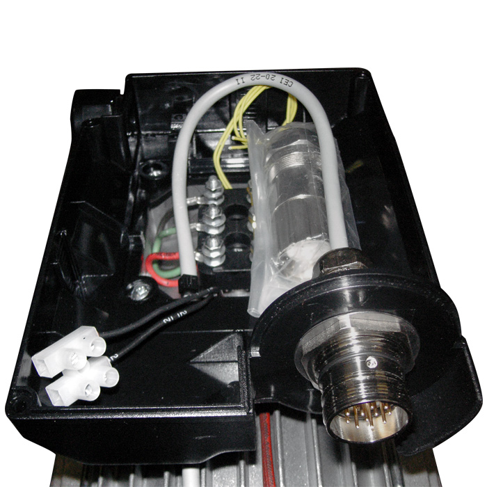 Motore elettrico con connettore sulla scatola